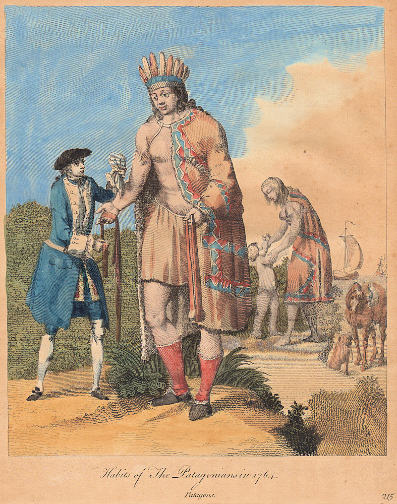 "Hand-colored copperplate engraving of the ""Habits of The Patagonians in 1764 """