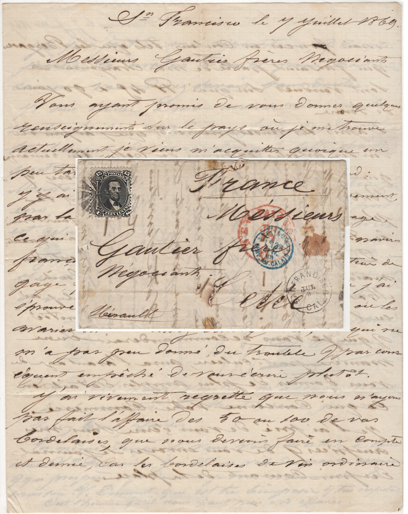 Letter From A French Ship Captain In San Francisco To A Wine Wholesaler In Southern France Franked With The First Lincoln Stamp Issued By The United