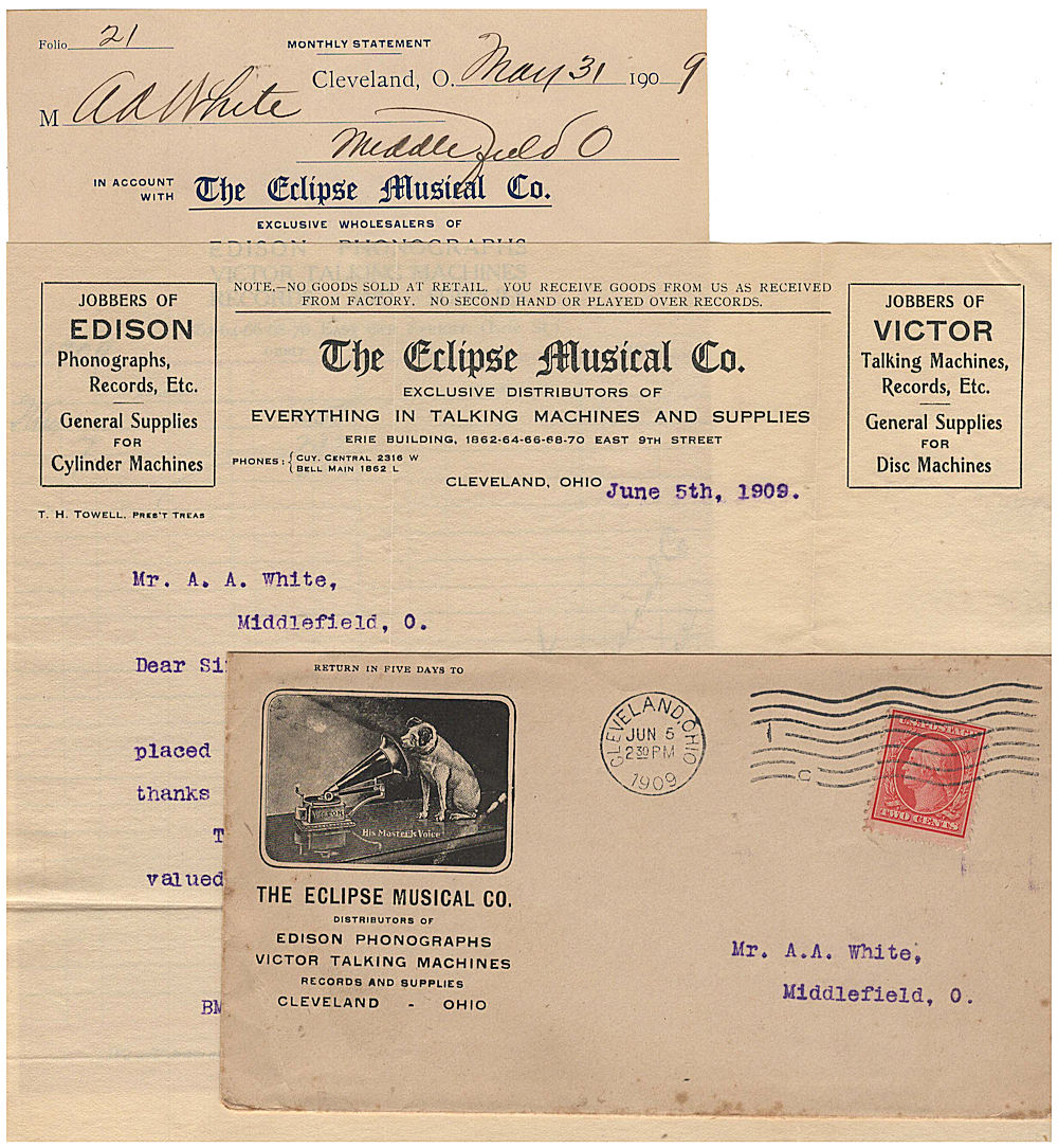 """Business letter and invoice for a phonograph wholesaler enclosed in an  illustrated advertising envelope featuring the famous """"His Master's"""