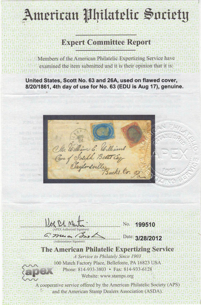 Although not a First Day of Issue, this is the earliest known use on cover  of the one-cent blue Franklin stamp Scott #63 with APS certificate