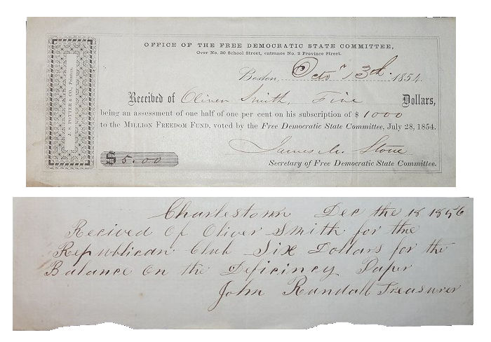 Early Republican Party Receipts - 1854 & 1856. Unlisted.