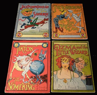 The Little Wizard Series. The Jell-O Booklets: 4 Vols. Ozma and the Little Wizard, Tiktok and the Nome King, Jack Pumpkinhead and the Sawhorse, and The Scarecrow and the Tin Woodman. L. Frank Baum.