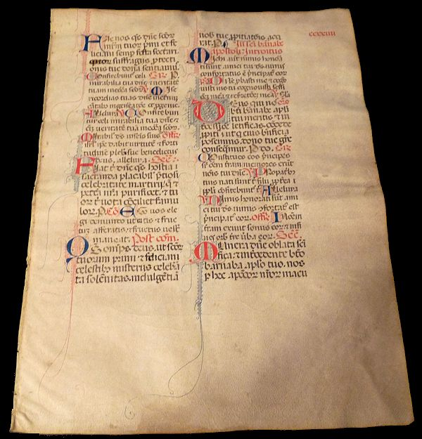 Large Manuscript Leaf on Vellum - Divine Office- Liturgia Honorium. Unlisted.