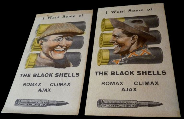 """Ammunition Advertising Score Cards for U.S. Cartridge Co. - """"I Want Some of the Black Shells"""" Anonymous."""
