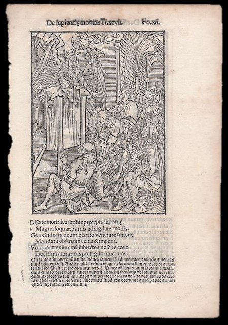 """Original Leaf with Two Albrecht Dürer Woodcuts from Sebastian Brant's Nauis Stultifera Collectanea. (Das Narrenschiff or The Ship of Fools) - """"Teaching of Wisdom"""" and """"Stroking a Fallow Stallion"""" Sebastian Brant, Albrecht Dürer."""