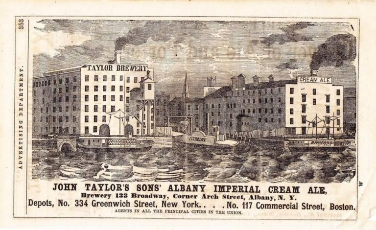 John Taylor's Sons' Albany Imperial Cream Ale. John Taylor's Sons' Brewery.
