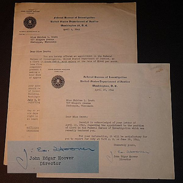 J. Edgar Hoover Autograph Letters and More. J. Edgar Hoover.