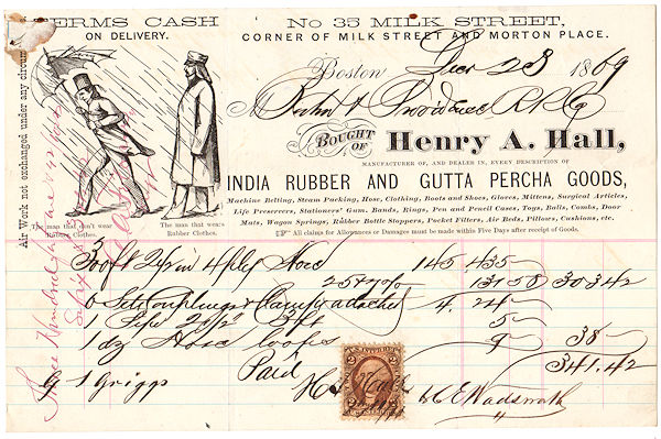 Illustrated Billhead for Henry A. Hall India Rubber and Gutta Percha Goods with U.S. Revenue Stamp.