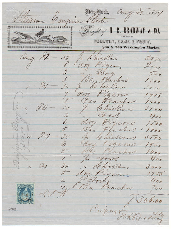 Illustrated Billhead for H. R. Bradway & Co. Dealers in Poultry, Game & Fruit with U.S. Revenue Stamp.