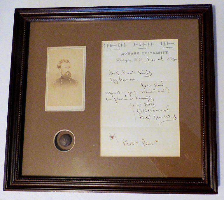 Autographed Letter Signed (ALS) by General O. O. Howard along with a Portrait CDV and Uniform Button. O. O. Howard.