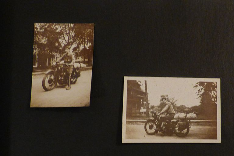 Scrapbook-photograph album documenting a cross-country trip from Brooklyn to San Francisco on a Harley-Davidson motorcycle. Alfred Z. Baker Jr.