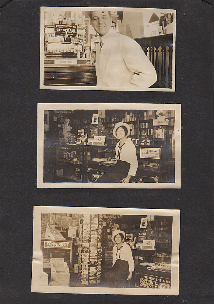 Photograph album including 20 images of a drug store. Unknown compiler.