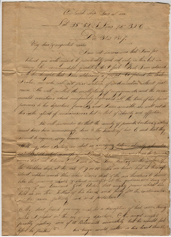 Early 19th century American missionary correspondence from the Ship Saco and India. E. S. Nichols.