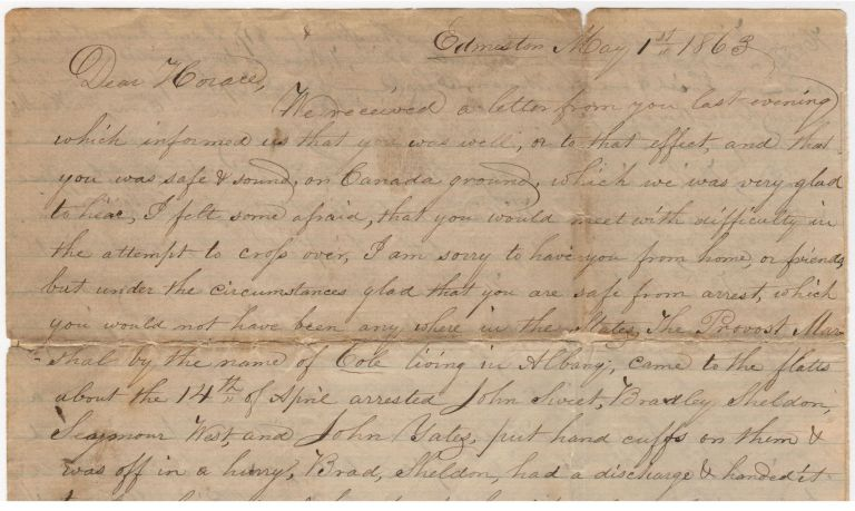 Letters to a Civil War deserter who escaped to Canada. Waterman Burlingham and family.