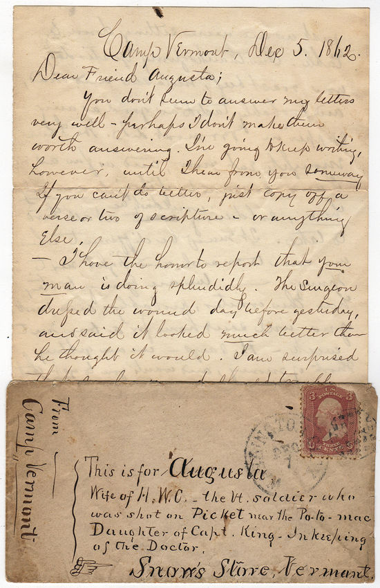Letter to the wife of a Union soldier wounded on picket duty while guarding approach to Washington, DC. E. T. Lamerburton.
