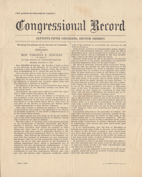 Working Conditions in the District of Columbia. Transcript of a speech given by the Honorable Virginia E. Jenckes as printed in the Congressional Record. Virginia E. Jenckes.