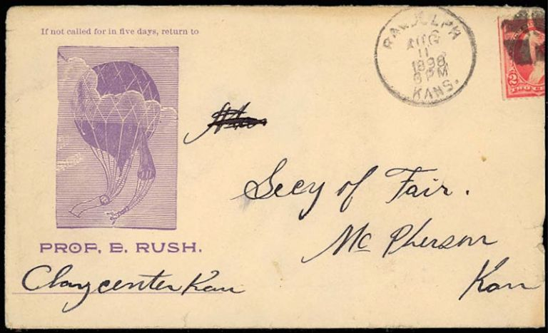 "Illustrated advertising envelope and letter promoting ""Professor"" Edward Rush's balloon ""aeronauts and parachute artists."". Prof. E. Rush."