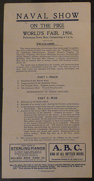 "Louisiana Purchase Exposition Broadside – ""Naval Show on the Pike World's Fair 1904."""