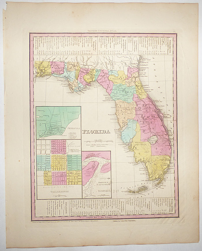 Florida (Map No. 17 from A New Universal Atlas. . . .). H. S. Tanner, Henry Shenk.