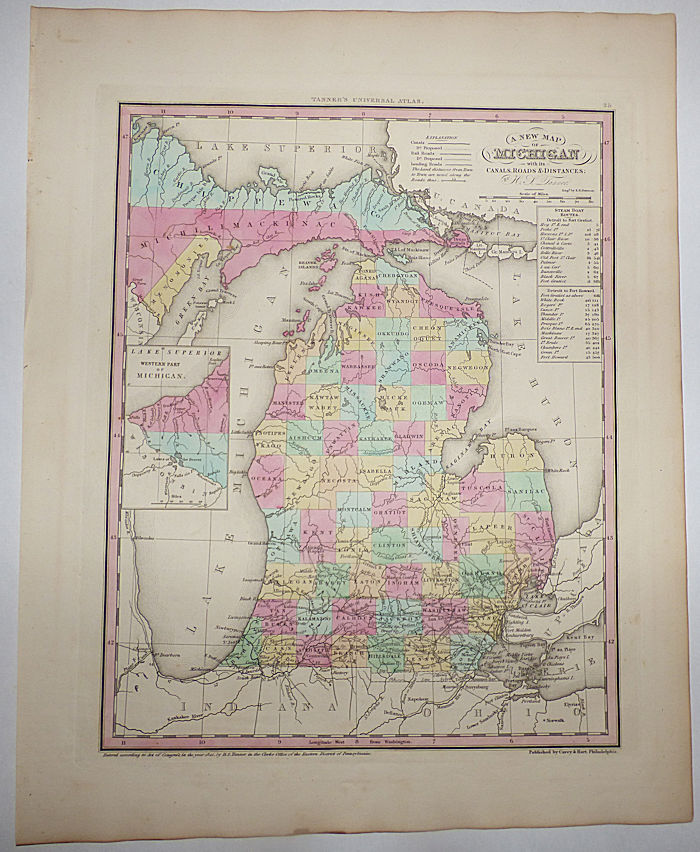 A New Map of Michigan with its Canals, Roads & Distances (Map No. 25 from A New Universal Atlas. . . .). H. S. Tanner, Henry Shenk.