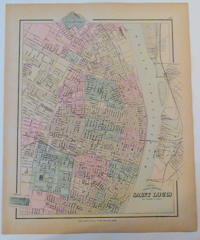 Gray's New Map of Saint Louis Map 129 from Gray's Atlas of the United  States on Read\'Em Again Books