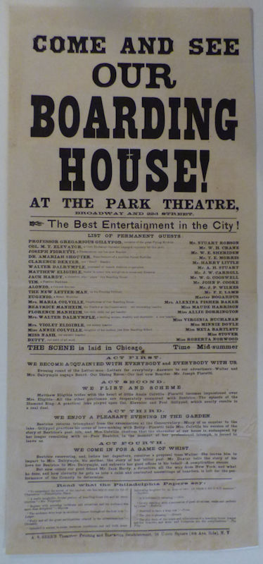 New York Theater Broadside for Our Boarding House at Henry Abbey's Park Theater