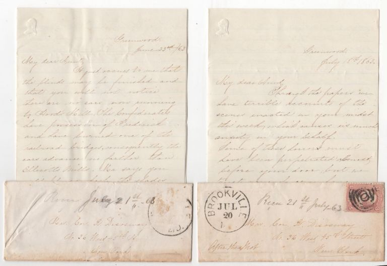 Two letters from a female Confederate sympathizer in Pennsylvania to her aunt in New York City. From Rebecca to Mrs. Cor. R. Disoway.