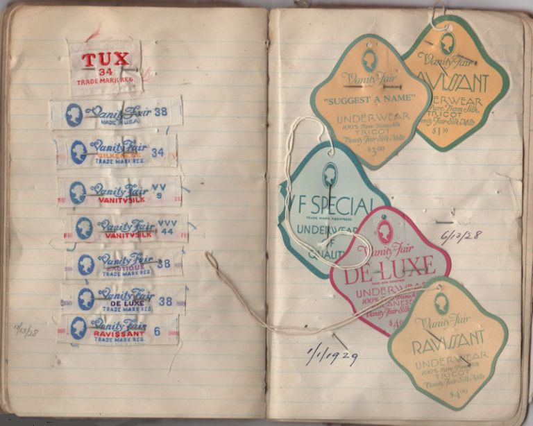 Production manager's notebook for Vanity Fair underwear and stockings. Howard B. Snader.