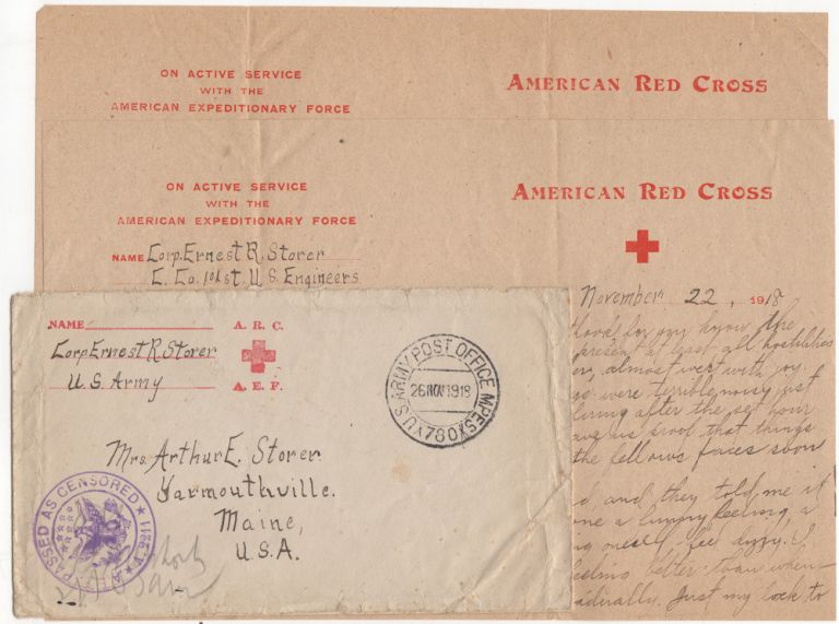 World War I letter from a soldier hospitalized as the result of a gas attack immediately before the Armistice on 11 November 1918. Corporal Ernest R. Storer.