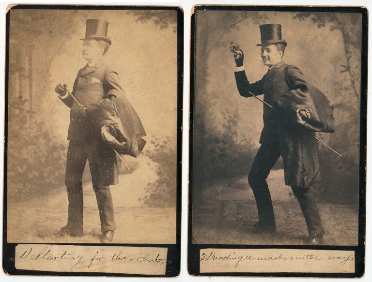 Set of seven temperance cabinet card photos showing a well-dressed gentleman as he gets drunk at his club and later reforms. Unknown photographer.