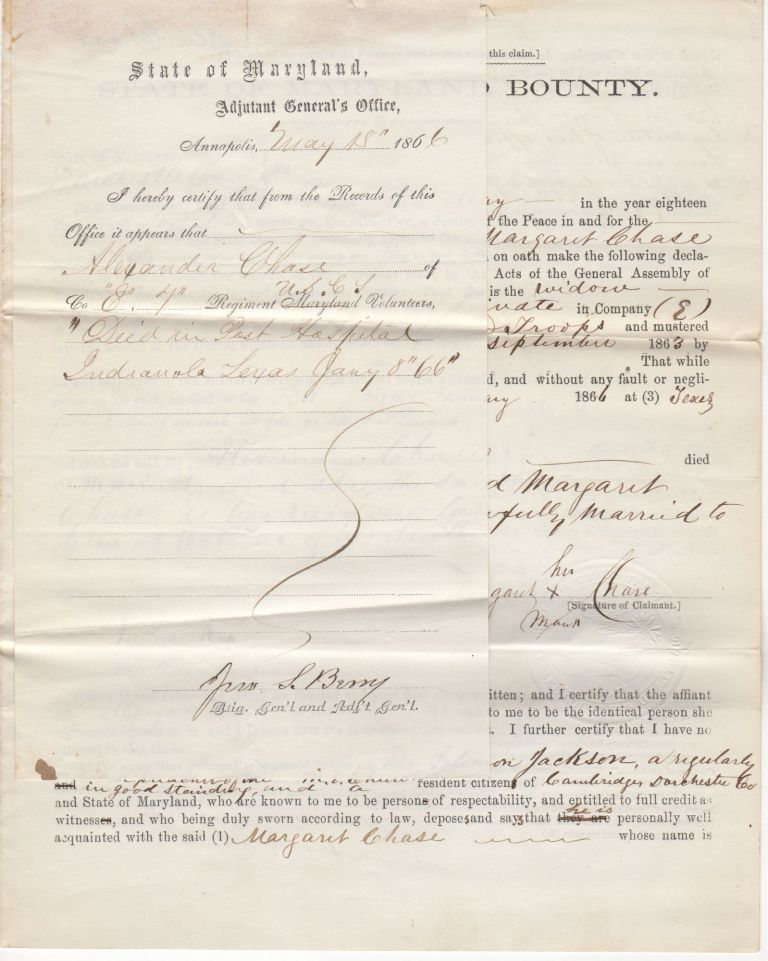 Documents attesting to the Civil War service of the Maryland slave, Alexander Chase, in the 7th United States Colored Infantry and his death in the Post Hospital at Indianola Texas. Various parties.