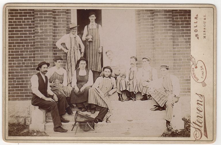 Cabinet card photograph of silverworkers outside of their Rolla, Missouri smelter. Stevens.