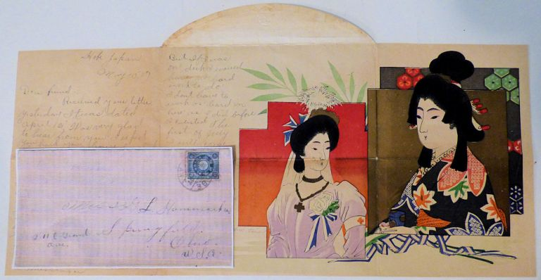 """Sailor's letter from the USS Pennsylvania while at Kobe, Japan written on a colorful Japanese Red Cross lettersheet featuring the Empress Shoken. """"S. A. G."""""""