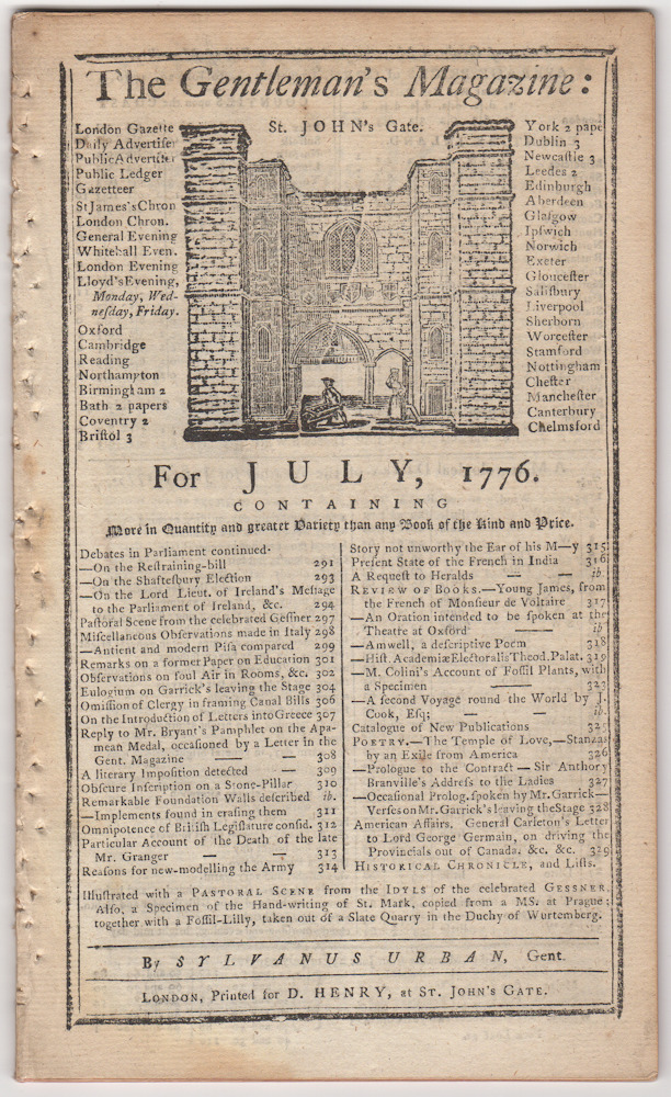 The Gentleman's Magazine: For July, 1776. Sylvanus Urban, Edward Cave.