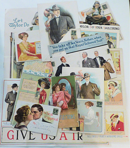 Collection of 18 beautiful advertising mailers for men's clothing made by J. L. Taylor, a subsidiary of the International Tailoring Company