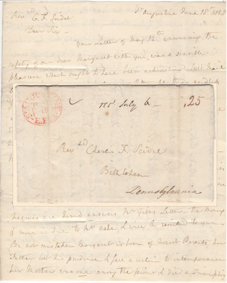 ASSURANCE THAT THE FEES INCURRED AT THE BETHLEHEM FEMALE SEMINARY BY AN ORPHANED FLORIDA GIRL WOULD BE PAID IN FULL ONCE HER BENEFACTOR RECEIVED PAYMENT FOR SLAVES SHE HAD LEASED TO A NEARBY FARMER ; Four-page folded letter from Isabelle Gibbs to the Reverend Charles F. Seidel. Isabelle Gibbs.