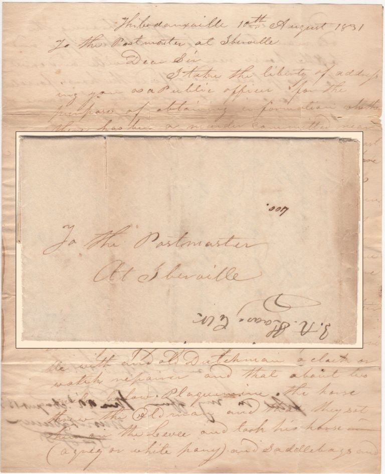 A REQUEST FOR INFORMATION ABOUT THE MURDER OF A LOUISIANA WATCHMAKER; Two-page folded letter sent by the Justice of the Peace from Thibodeauxville, Louisiana to the Postmaster of Iberville. Louisiana A Justice of the Peace from Thibodeauxville.