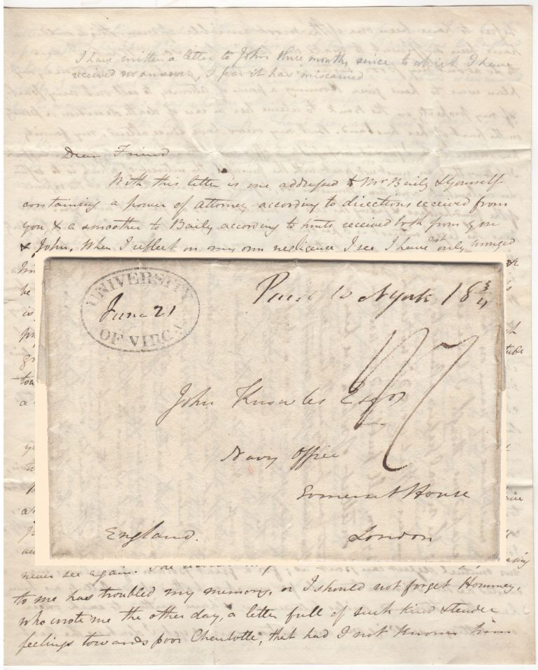 A HEARTFELT AND NEWSY LETTER FROM ONE OF THE FIRST PROFESSORS AT THE UNIVERSITY OF VIRGINIA TO A FRIEND IN ENGLAND; Four-page stampless letter from Charles Bonnycastle to John Knowles. Charles Bonnycastle.