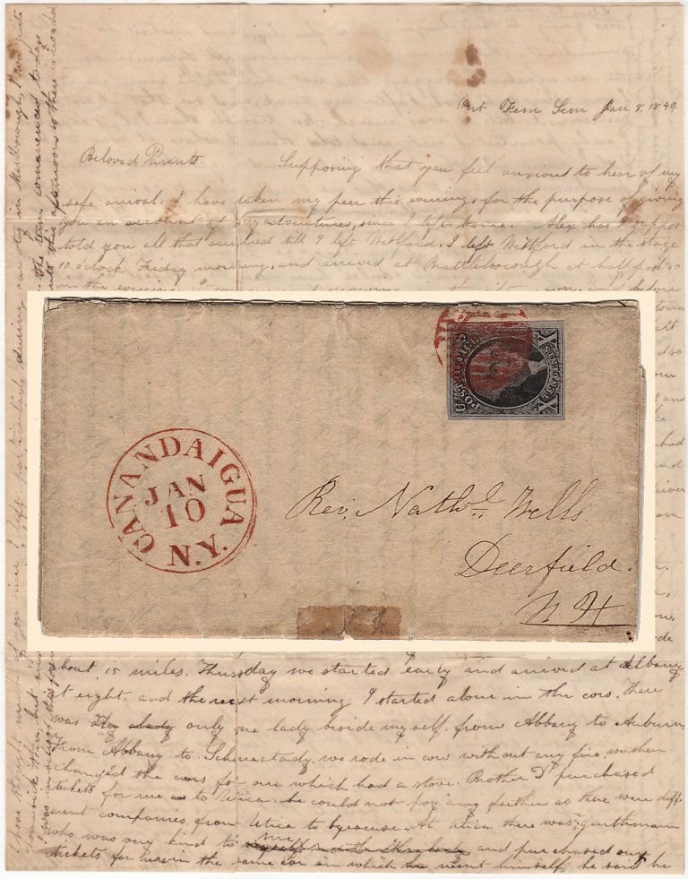AN ADVENTUROUS WOMAN'S TRAVEL LETTER RECOUNTING A HAZARDOUS JOURNEY BY STAGE AND RAILROAD TO THE ONTARIO FEMALE SEMINARY DURING A HORRENDOUS WINTER STORM franked with A VERY FINE 1847 U.S. TEN-CENT WASHINGTON STAMP; Four-page folded letter from Abby Wells sent from Canandaigua, New York to her parents in Deerfield, New Hampshire. Abigail Wells.