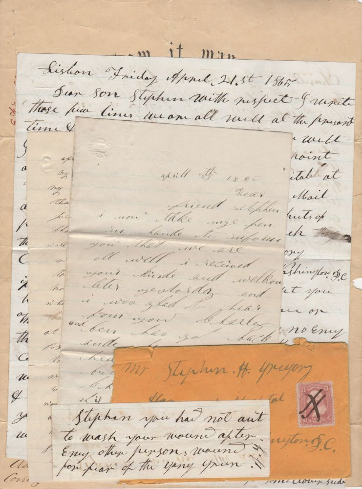 Small archive of Civil War letters written to a wounded member of the 39th New York Volunteer Infantry Regimen (The Garibaldi Guard) along with the soldier's discharge certificate. authors.