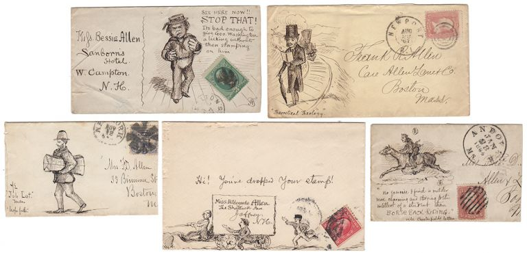 "FIVE PIECES OF EXCEPTIONALLY WELL-DRAWN, HUMOROUS POSTAL FOLK ART; Five hand-illustrated envelopes by an artist identified only as ""F. R."" that were sent to members of the Allen family of Massachusetts and New Hampshire. ""F. R.""."