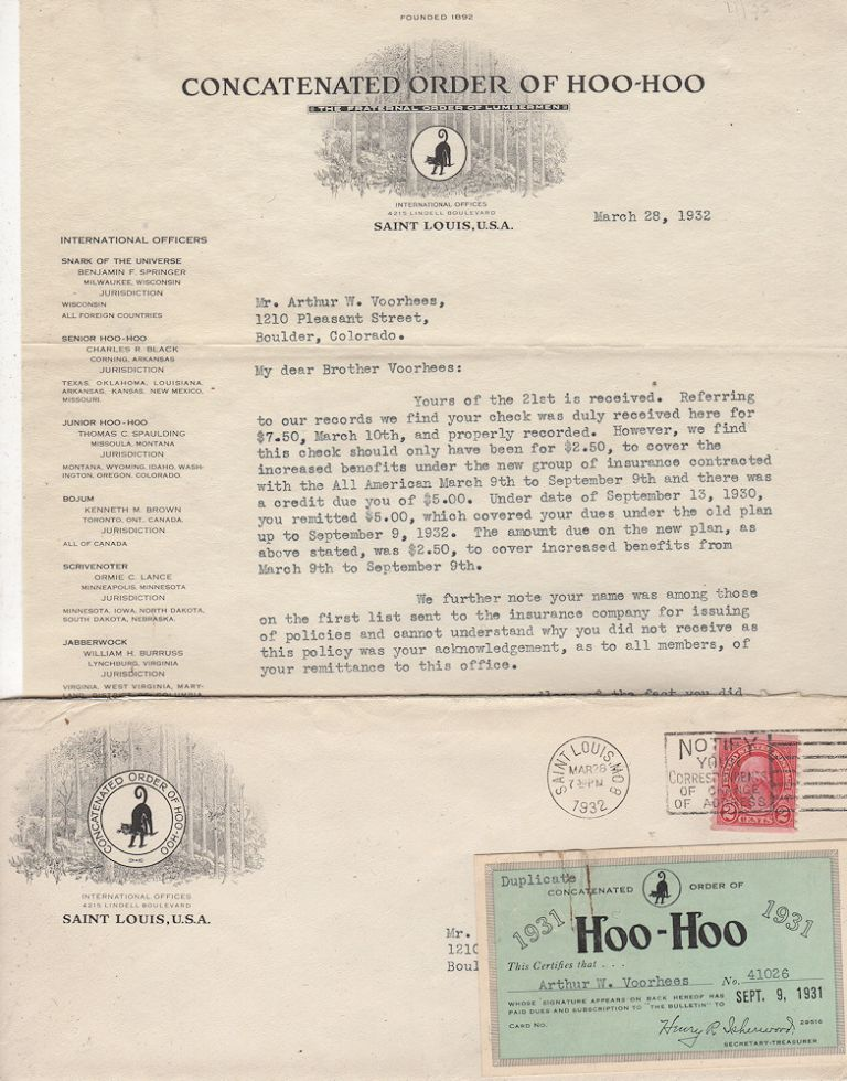 Letter, with membership card, from the Concatenated Order of Hoo-Hoo to one of its members. Secretary-Treasurer R. Isherwood.