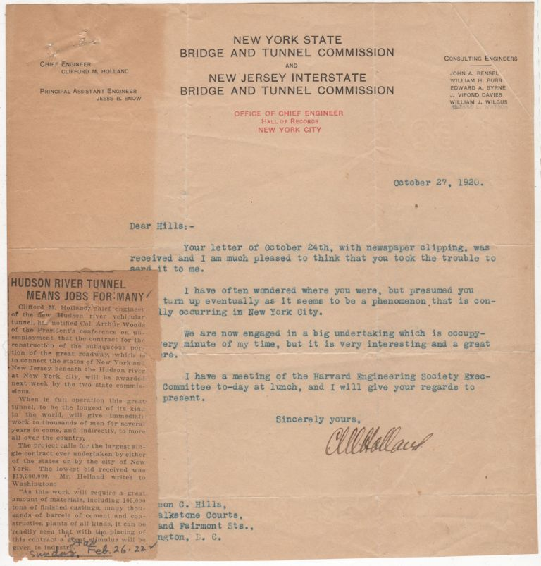 Typed letter signed by Clifford M. Holland, Chief Engineer of the Holland Tunnel sent to a Harvard classmate in response to a letter concerning the beginning of the tunnel's construction. Clifford M. Holland.