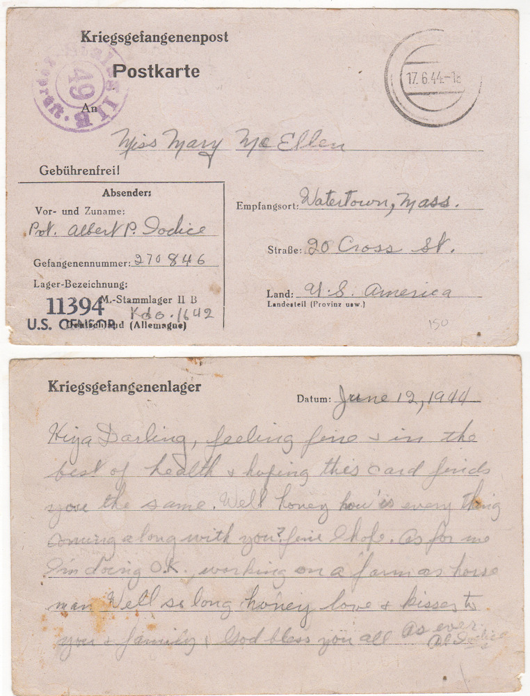 World War II U.S. Prisoner of War Mail from Germany. Private Albert P. Jodice.