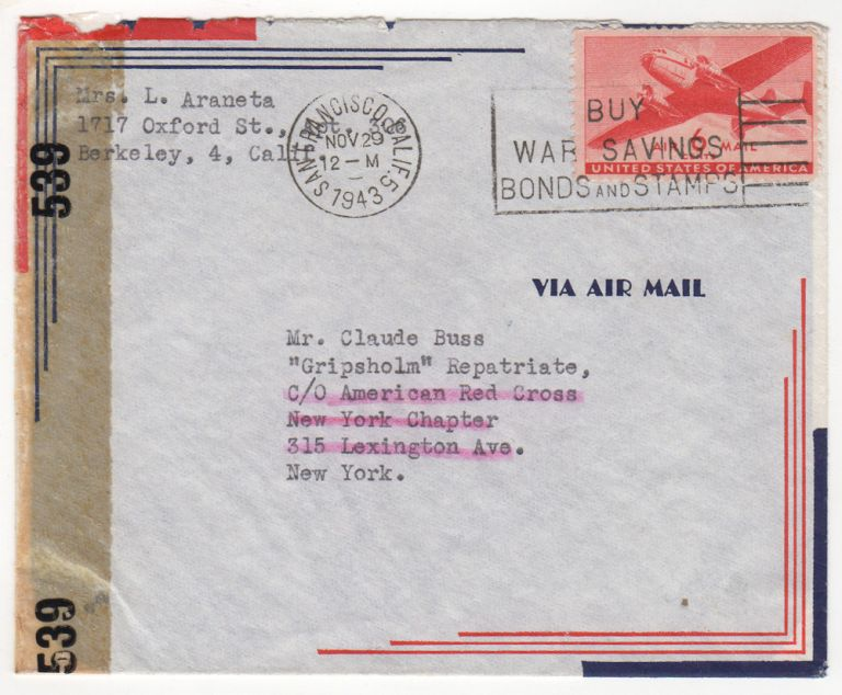 World War II mail to a Civilian being repatriated from Japan via the M.S. (Mercy Ship) Gripsholm.