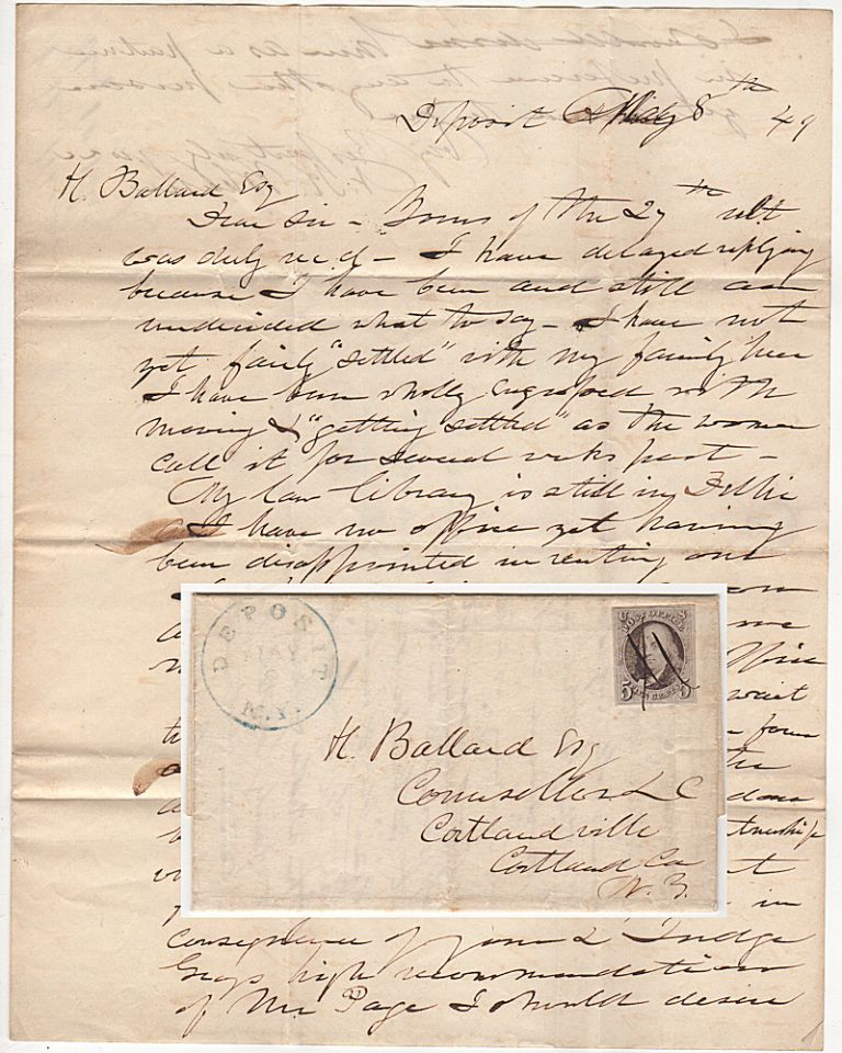 Folded letter from by an important New York jurist—who had tried and sentenced many men during the infamous Anti-Rent War—shortly after he relocated to a small rural town not far from Binghamton; franked with a very nice example of first U. S. Postage Stamp (Scott #1). Nelson Knox Wheeler.
