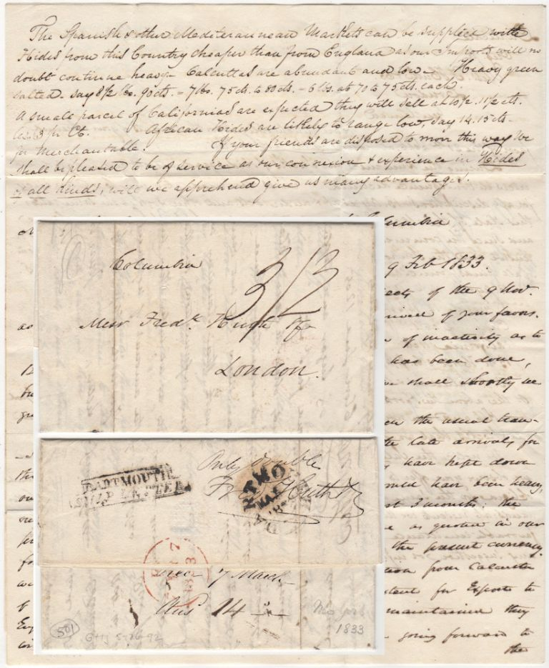 Business Letter discussing hide sales sent by the packet ship Columbia from New York to London. De Forest, Son.