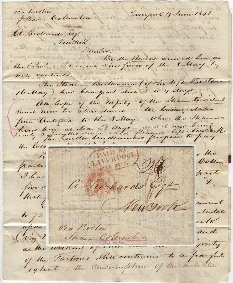 Two-page folded letter with printed circular sent via the Steamer Columbia from Liverpool to New York via Boston