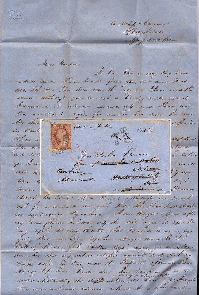 Four-page U.S. Navy Midshipman's letter about shipboard life, promotion opportunities, and facial hair. Washington Totten.