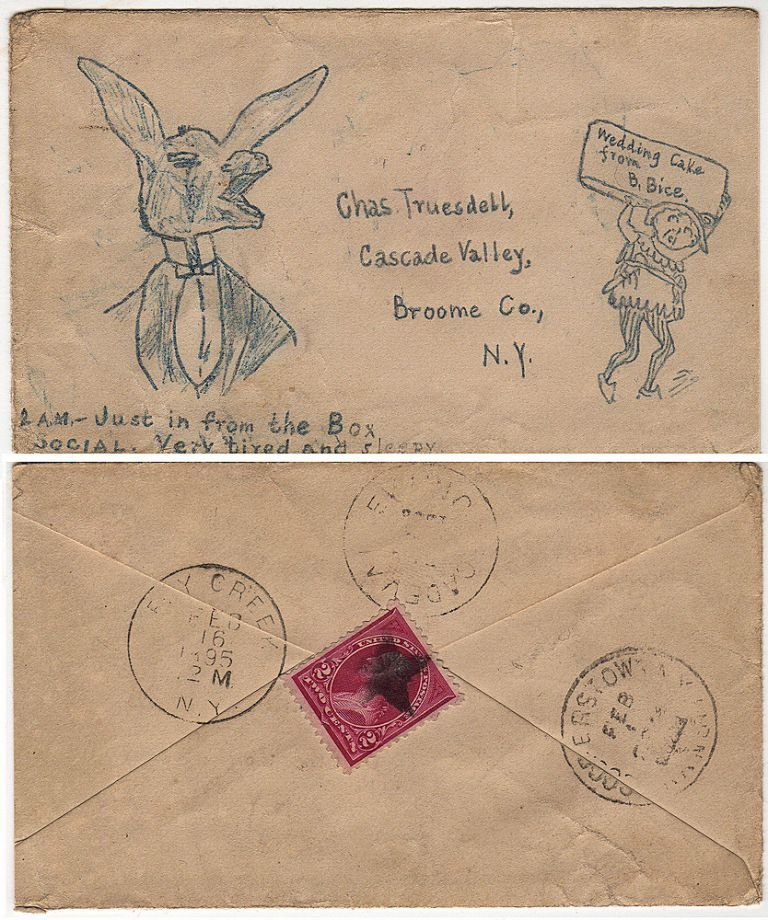 Hand-drawings of a finely dressed donkey and court jester on a postally used envelope with a fancy cancel. B. Bice.